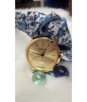 Жіночі годинники Geneva Duobla Квітковий синій принт