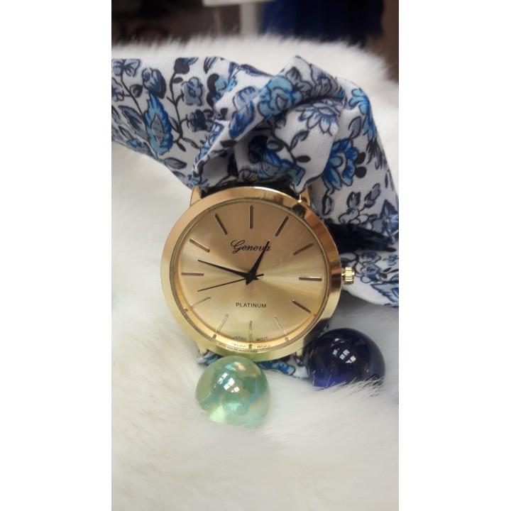 Купить Женские часы Geneva Duobla Цветочный синий принт