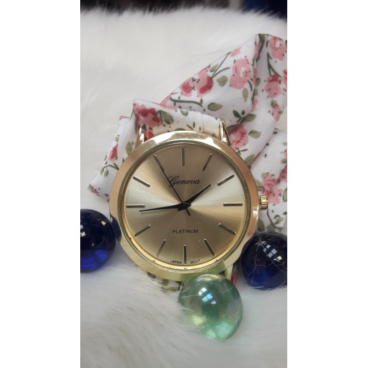 Купить Женские часы Geneva Duobla Цветочный розовый принт
