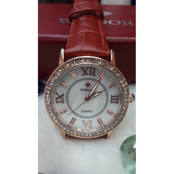 Купить Женские часы Wwoor Красный  ремешок