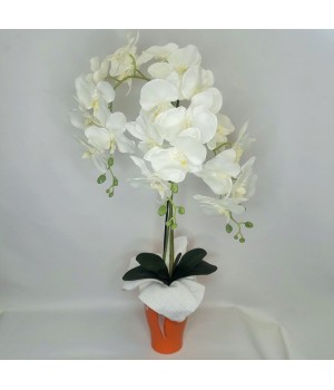 Искусственная орхидея 85см в керамическом кашпо.