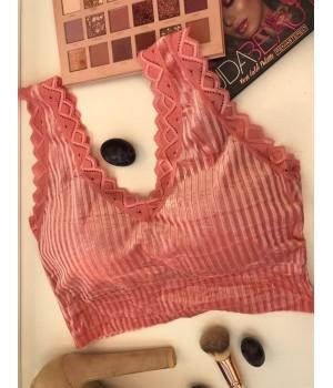 Женский топ - лиф велюровый Milli с кружевами цвет Розовая дымка