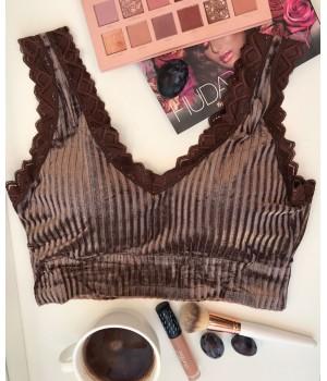 Женский топ - лиф велюровый Milli с кружевами цвет Горький шоколад