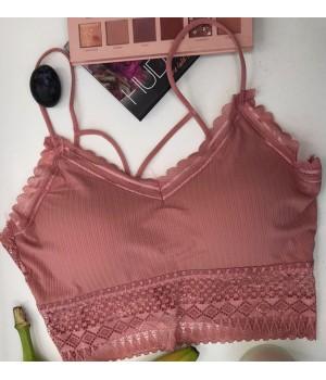 Женский топ - лиф трикотаж Martier с кружевами цвет Розовый