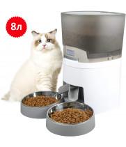 Кормушка для кошек и собак автоматическая WellToBe A68D, 8л, Белая