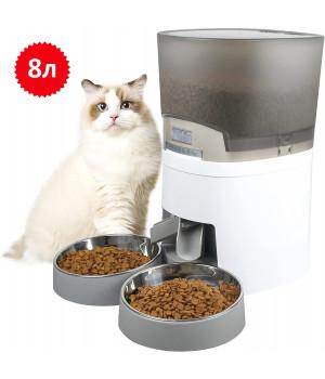 Кормушка для кошек и собак автоматическая Honeyguaridan A68D, 8л, Белая
