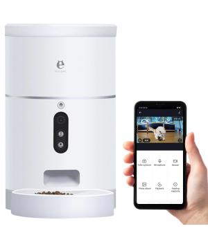Кормушка для кошек и собак автоматическая ELS-PET F001 с видеокамерой, 4,0л. WiFi, Белая