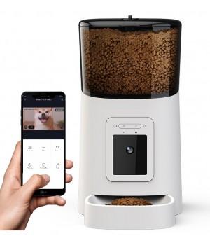 Кормушка для кошек и собак автоматическая Petrust PP003, 6л. WiFi с видеокамерой, Белая
