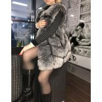 Жилетка из эко меха чернобурки OSINA Ника L,XL,XXL,3XL Серебристо-серая 75см